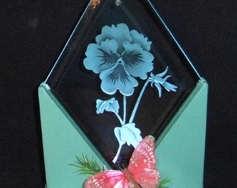 Handcrafted Art Glass Pansy Custom Sand Blasted LED Lighted Art Display