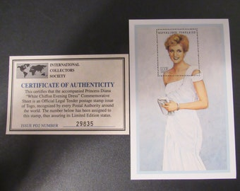 """Princess Diana """"White Chiffon Evening Dress"""" Commemorative Sheet Stamp - Limited Printing - Official Stamp of Toga"""