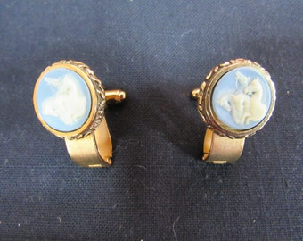 Vintage Men's Gift Cuff Link Set Dante Museum Masterpiece Cuff Links Jewelry Collection Vintage 1960's Designer Dante Incolay Carved Cameo