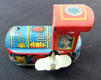Vintage 1960's Wind Up Train Engine Tin Toy Friction Train Engine Made in Japan