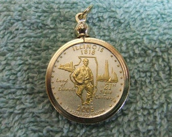 Coin Bezel Pendant W/ 18k GP Chain Illinois Statehood Quarter Jewelry - Gold and Silver Necklace Pendant
