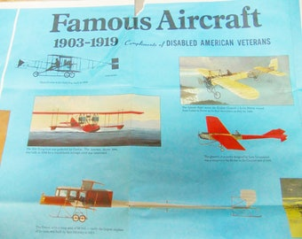Vintage Aircraft WW I & WW II Famous Aircraft Wall Chart - 1903 - 1919 And 1920 to Present