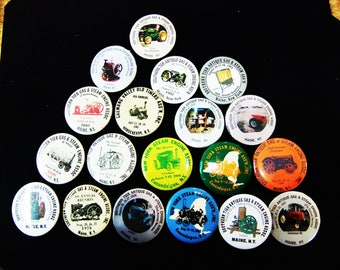 Vintage Antique Steam Engine Convention Pins - Maine NY Association - Lot of 19 Convention Pins