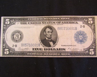 Vintage Currency 1914 Large Size  5 Dollar New York Type-A  Federal Reserve Note