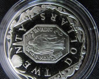 Vintage British Virgin Island Twenty Dollar Proof Coin Sterling Silver  1980's Commemorative Twenty Dollar Proof Coin Legal Tender - Saint