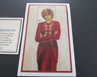 """Princess Diana """"Red Dress"""" Commemorative Sheet Stamp - Limited Printing - Official Stamp of Toga"""