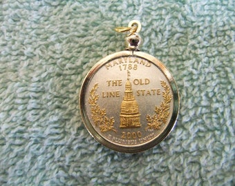 Coin Bezel Pendant W/18k GP Chain  Maryland Statehood Quarter Jewelry - Gold and Silver Necklace Pendant