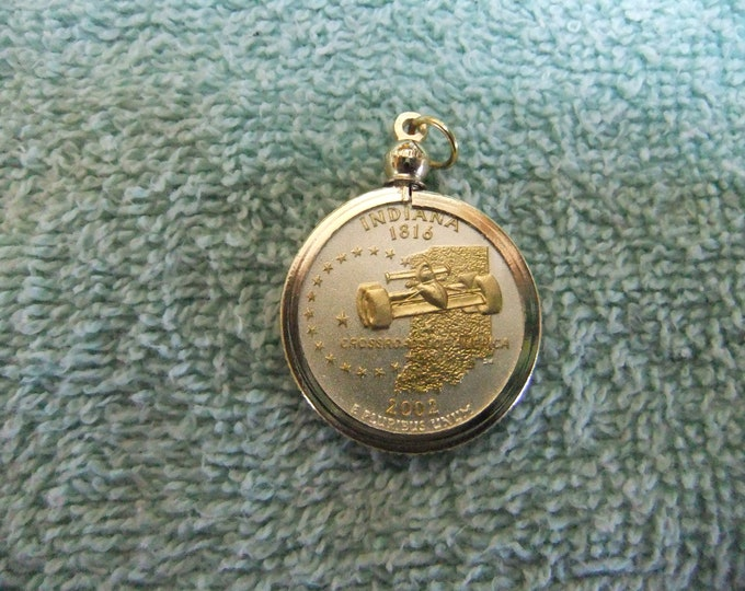 Featured listing image: Coin Bezel Pendant W/ 18k GP Chain Indiana Statehood Quarter Jewelry - Gold and Silver Necklace Pendant