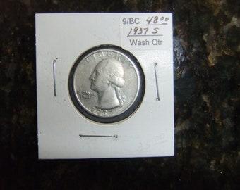 Vintage Coin Washington Quarter 1937s - Collectible Silver Quarter