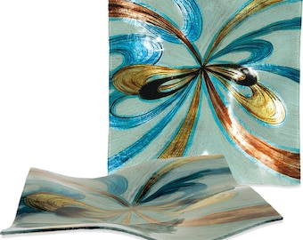 """Handcrafted Art Glass Square Plate - Cozenza Glassware - Infinite Swirls 12"""" Square Plate"""