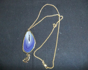 Handcrafted Agate Pendant w 20 inch 18k Gold Plated Chain