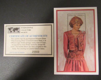 """Princess Diana """"Pink Evening Dress"""" Commemorative Sheet Stamp - Limited Printing - Official Stamp of Toga"""