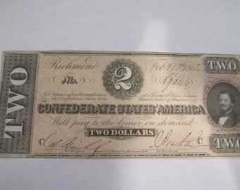 Vintage Obsolete Currency Rare Civil War Confederate  2.00 Dollar Bill 1864 T-70