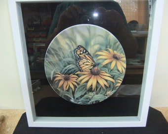 Rosemary Millette Garden Visitors Monarch Butterfly Flowers Plate - Framed