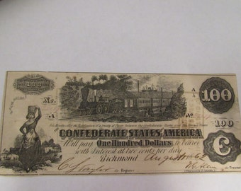 Vintage Civil War Obsolete Currency Rare Confederate  100 Dollar T39 Note Charleston, Augusta, Columbia