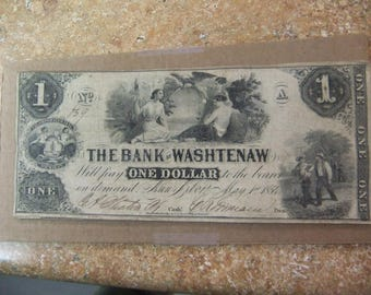 Vintage 1854 Obsolete Currency - Bank of Washtenaw One Dollar Note - May 1st 1854 - Ann Arbor Michigan - Ser 629