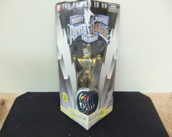 "Vintage Mighty Morphin Power Rangers Gold  Ranger Bandai 8"" Figure Complete 1993 Movies Series in Box"