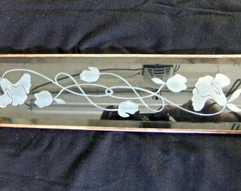 Stained Glass Window Panel Vintage Flower Deep Etched Bevel Stained Glass Window Panel