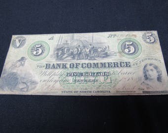 Vintage Civil War Confederate Era 5 Dollar Obsolete 1864  Bank Of Commerce, Newbern, North Carolina - Obsolete Currency