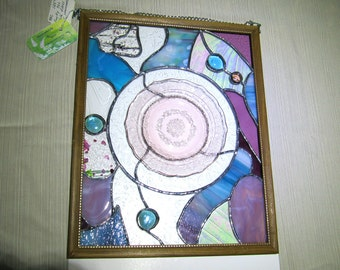 Handcrafted Stained Glass / Depression Glass Window Panel / Suncatcher Funky Eclectic Mauve Pink & Teal