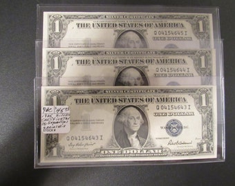 Silver Certificates Vintage 1935F Crisp Uncirculated Sequential 3 Bill Set Lot 2 Numismatic and Men's Gift