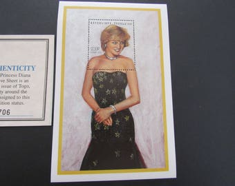 "Princess Diana ""Black Dress"" Commemorative Sheet Stamp - Limited Printing - Official Stamp of Toga"