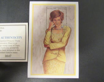 """Princess Diana """"Yellow Dress"""" Commemorative Sheet Stamp - Limited Printing - Official Stamp of Toga"""
