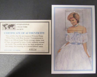 """Princess Diana """"White Dress with Blue Accents"""" Commemorative Sheet Stamp - Limited Printing - Official Stamp of Toga"""