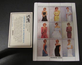 Princess Diana Royal Gowns Stamp Plate Block of 9 Stamps
