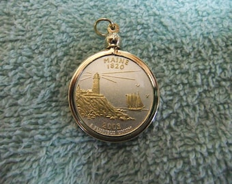 Coin Bezel Pendant W/18k GP Chain  Maine Statehood Quarter Jewelry - Gold and Silver Necklace Pendant