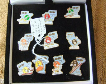 Vintage M&M 1992 Winter Olympic Pin Set - 12 Pins and Case - Bobsled - Ice Skating - Luge - Ski Jump
