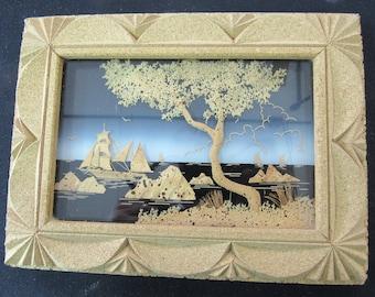 Hand Carved Cork 9 x 7 Athens Greece 1971 Beach Scene 2