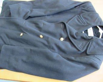 Vintage Vietnam-Era U.S. Navy Peacoat Kersey Wool Size Large - VG Condition - Circa 1970