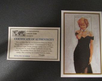 "Princess Diana ""Black Silk Cocktail Dress"" Commemorative Sheet Stamp - Limited Printing - Official Stamp of Toga"
