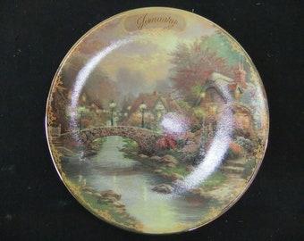 Thomas Kinkade Limited Edition Plate - January - Lamplight Bridge