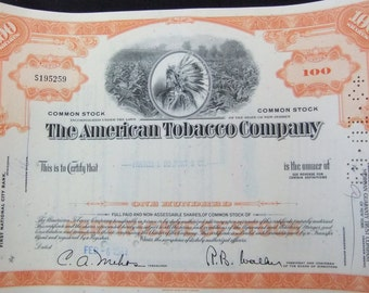 Vintage American Tobacco Stock Certificate 1960s 100 Share Stock Certificate from The American Tobacco Company