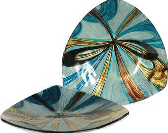 "Handcrafted Art Glass Plate - Cozenza Glassware - Infinite Swirls 8"" Tri Plate"