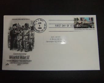 WW II First Day Issue - Lot of 10 - 50 Year Anniversary D-Day 1944 -  U.S.Navy - U.S.S Normandy Sta (CG 60 - June 6th 1994