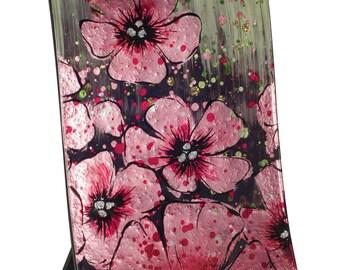 "Handcrafted Art Glass Clock - Cozenza Glassware - Cherry Blossom - 11 1/2"" Clock"