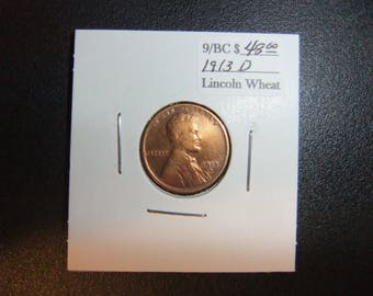 Vintage Lincoln 1913D Wheat Penny - XF