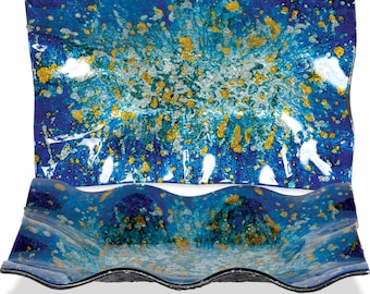 """Handcrafted Art Glass Rectangle Plate - Cozenza Glassware - Blue Ocean 10"""" Rectangle Plate"""