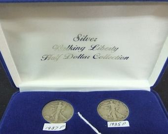Vintage Coins 1940's Walking Liberty Silver 5 pc Walking Liberty Half Dollar Coin Set - E9