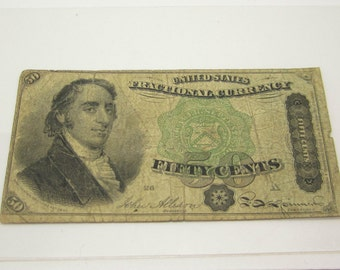 Vintage  Currency Fractional Currency Vintage 1875 United States Fractional Currency 50 Cents