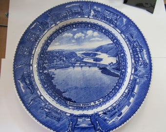 """Vintage Blue & White Baltimore And Ohio Railroad Vintage Blue and White China 10"""" Dinner Plate Circa 1930's"""