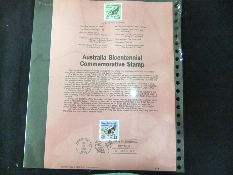 1988 Australia Bicentennial Stamp First Day Of Issue USPS 88-4 image 0