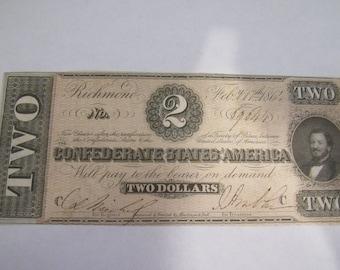 Vintage Obsolete Currency Rare Civil War Confederate  2.00 Dollar Bill 1864 T-70