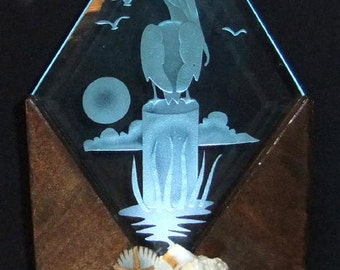 Handcrafted Pelican Custom Sand Blasted LED Lighted Art Display