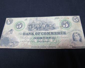 Vintage Civil War Confederate Era 5 Dollar Obsolete 1864  Bank Of Commerce, Newbern, North Carolina - Obsolete Currency