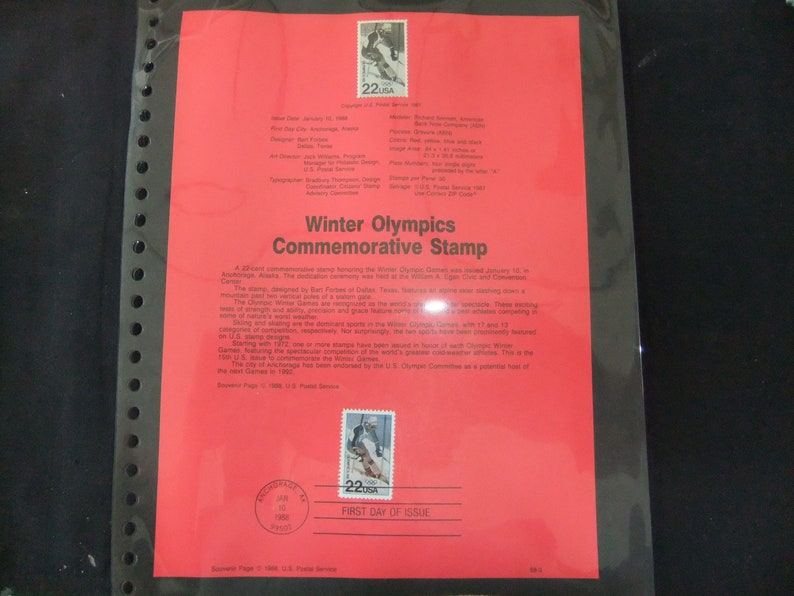1988 Winter Olympics Stamp First Day Of Issue USPS 88-3 image 0