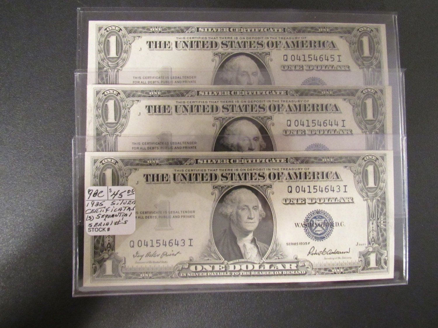 Silver Certificates Vintage 1935f Crisp Uncirculated Sequential 3